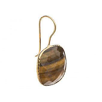 Few ladies - earrings - 925 silver plated - Tiger eye - brown - yellow, 4 cm