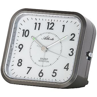 Атланта 1768/4 будильник кварц антрацит серый спокойно без тиканье светом Snooze