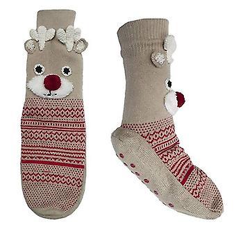 RJM Ladies Christmas Reindeer Rudolph Non-Slip Slipper Socks - S/M