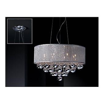 Schuller Art Deco Chrome Crystal Open Drum Ceiling Pendant Light
