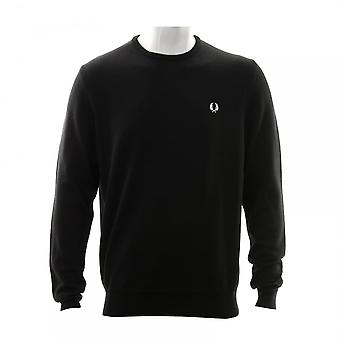 Fred Perry Mens Classic Crew Neck Knit Sweater (Black)