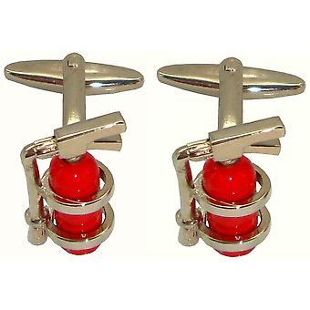 Bassin et boutons de manchette extincteur brun - rouge/argent
