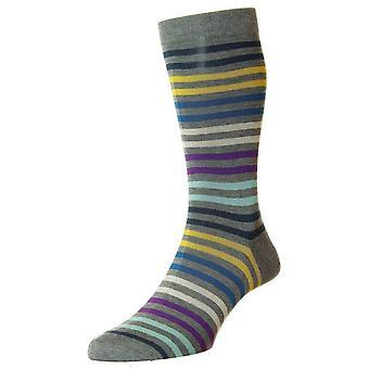 Pantherella Kilburn hele Stripe katoen sokken in Schotse draad - midden grijs Mix