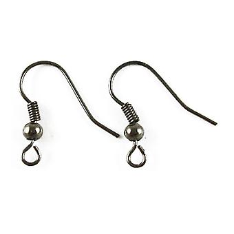 Packet 120+ Dark Silver Plated Iron Fish Hook Earring Wires 18mm HA02143