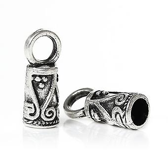 Pakke 30 x antik sølv zink legering Tube ende-hætter 5 x 14 mm Y09745