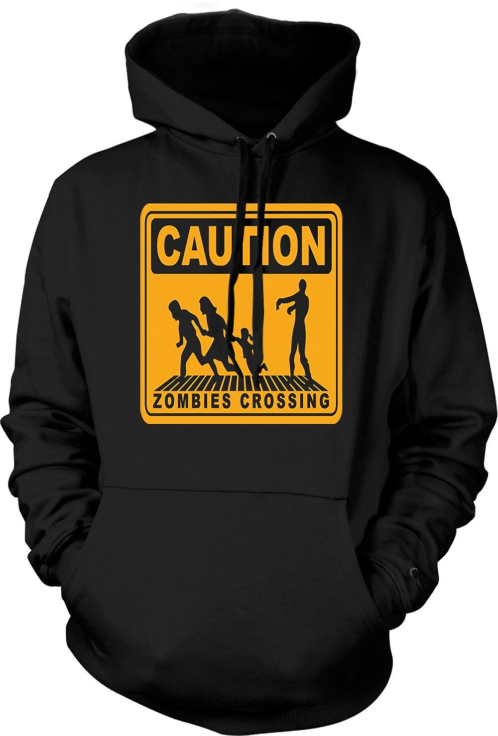 Mens Hoodie - Caution Zombies Crossing - Funny