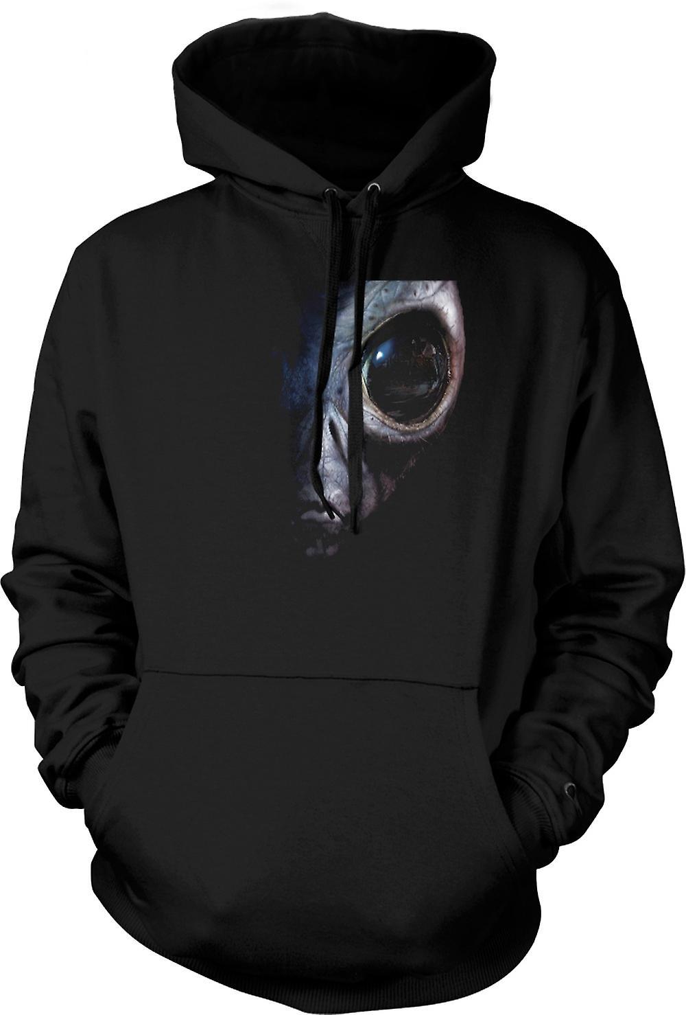 Mens Hoodie - Alien - UFO - grå