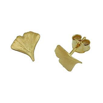 Gingko earrings Golden Earring GINKGO leaf Ginkgo plug 9 mm 9 KT gold 375