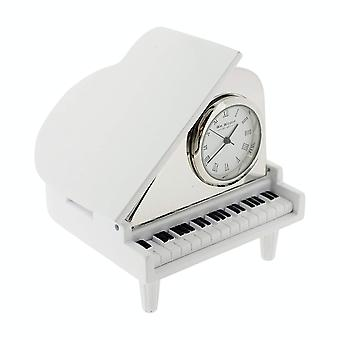 Miniature Clock White & Silvertone Piano Novelty Collectors Clock 9650