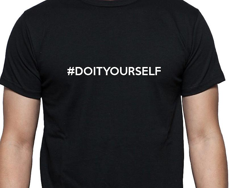 #Doityourself Hashag Doityourself Black Hand Printed T shirt