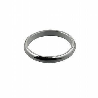 9ct White Gold 3mm plain D shaped Wedding Ring Size Q