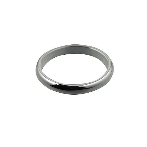 9ct White Gold 3mm plain D shaped Wedding Ring