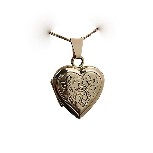 9ct Rose Gold 17x17mm hand engraved flat heart shaped Locket with a curb Chain 16 inches Only Suitable for Children