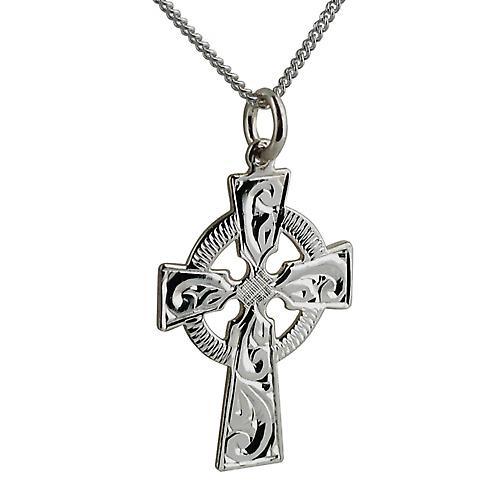 Silver 28x20mm hand engraved Celtic cross with Curb chain