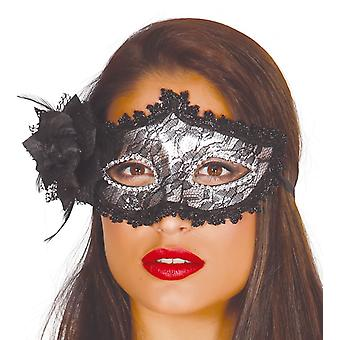 Womens Black Mask With Rose Fancy Dress Accessory