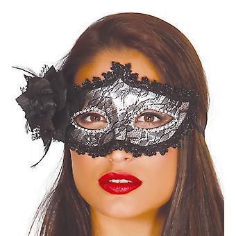 Womens Black Mask avec accessoire robe Rose fantaisie