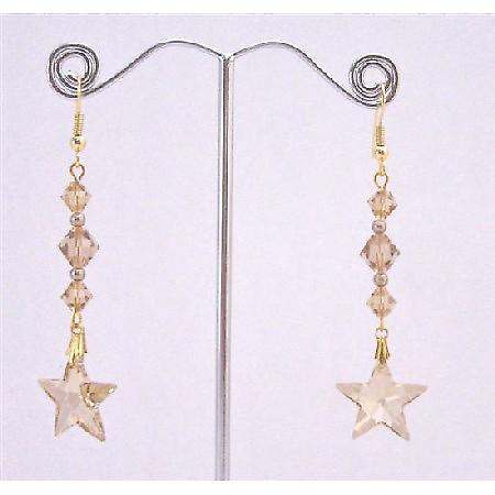Golden Shadow Star Earrings w/ Lite Colorado Bicone Bead Earrings