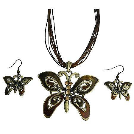 Butterfly Lite Colorado Rhinestone Brown Enamaled Necklace Set