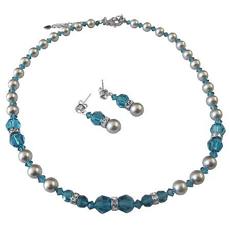 Swarovski Jewelry Indicolite Crystals & Grey Pearls Necklace Earrings