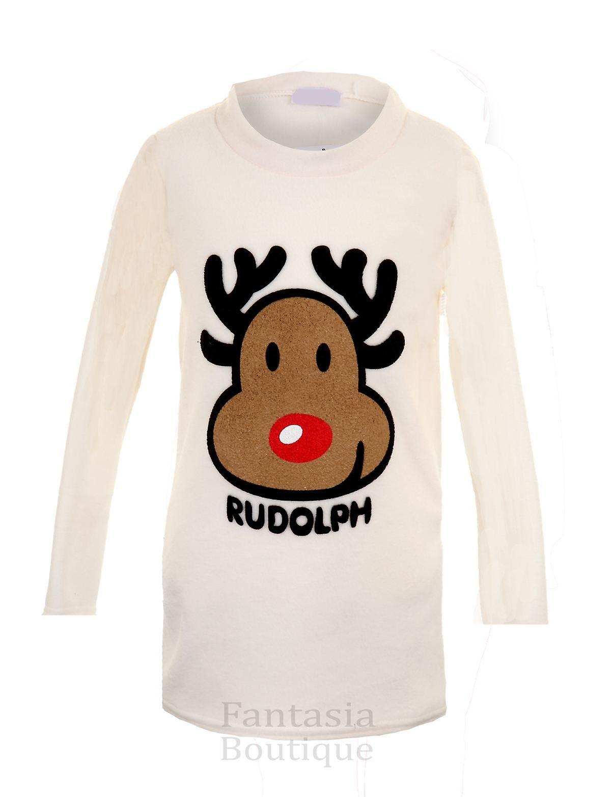 Children's Long Sleeve Rudolf Reindeer Christmas Kid's Winter Warm Fleece Jumper