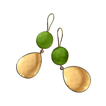 Gemshine ladies earrings gold yellow Citrine and green Peridot quartz drops. 925 Silver or gold-plated earrings. Sustainable, quality jewelry made in Spain