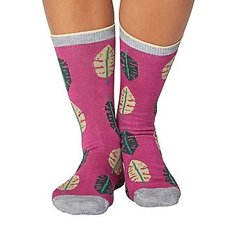 Tropical women's soft bamboo crew socks in magenta | By Thought