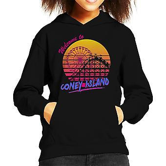 Welcome To Coney Island Retro 80s Kid's Hooded Sweatshirt
