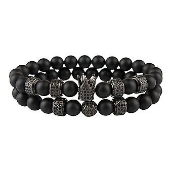Armbänder-glatte Perlen und Kronleuchter, schwarz