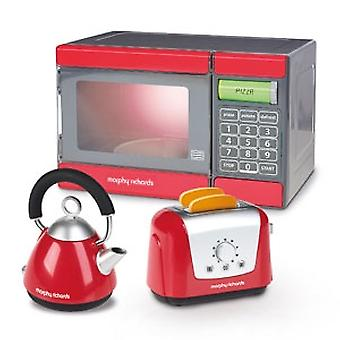 Casdon Little Cook Morphy Richards Microwave, Kettle & Toaster Set Red
