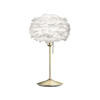 Umage | Vita Copenhagen Eos Table Lamp - White Feather Eos Mini/Brushed Brass Stand