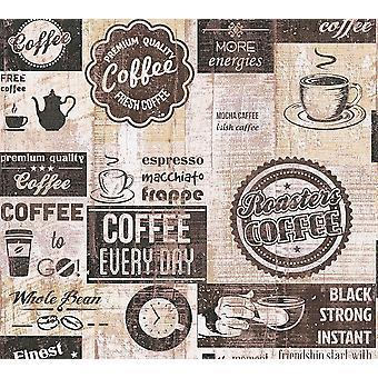 Restaurante cafetería comedor fondos cocina Vintage marrón Beige crema en relieve
