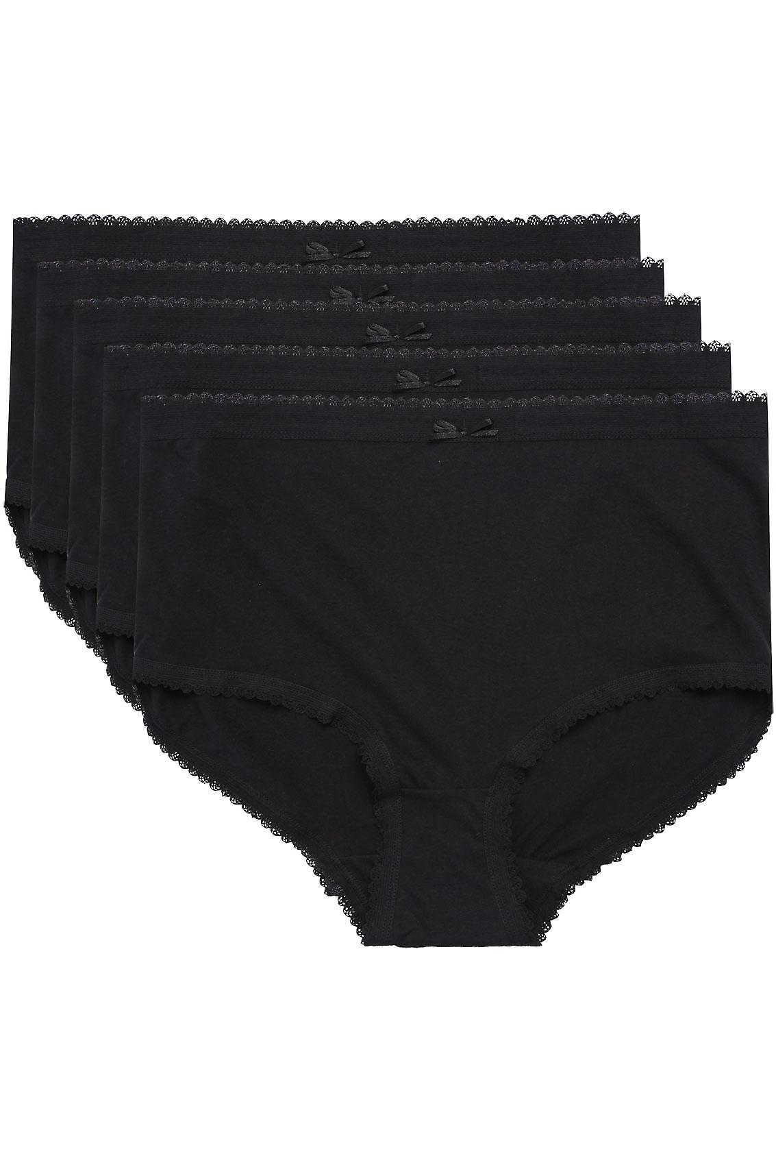 5 PACK Black Cotton Full Brief