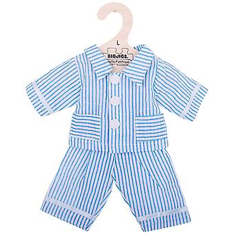 Bigjigs Toys Plush Blue Striped Pyjamas (38cm) Soft Rag Doll Outfit