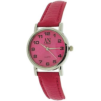 AN London Ladies Hot Pink Dial Silver Tone Case Hot Pink PU Strap Watch 8731S/10