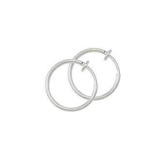 Eternal Collection Hoopla 17mm Silver Tone Clip On Hoop Earrings