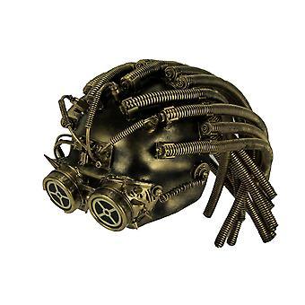 Metallischer Steampunk Cyborg Helm Halloween-Maske mit Gear Brille