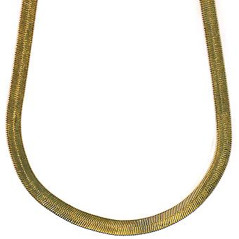 14K Gold Plated Herringbone Chain Necklace 6mm x 24 inches Brass