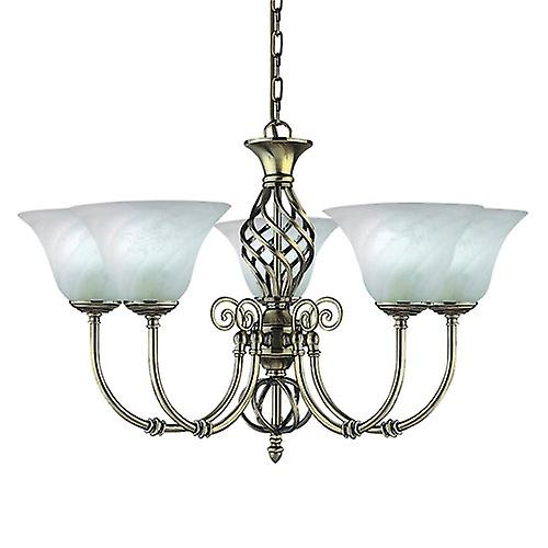 Searchlight 975-5 Cameroon 5 Arm Antique Brass Fitting Complete With Marble Glass