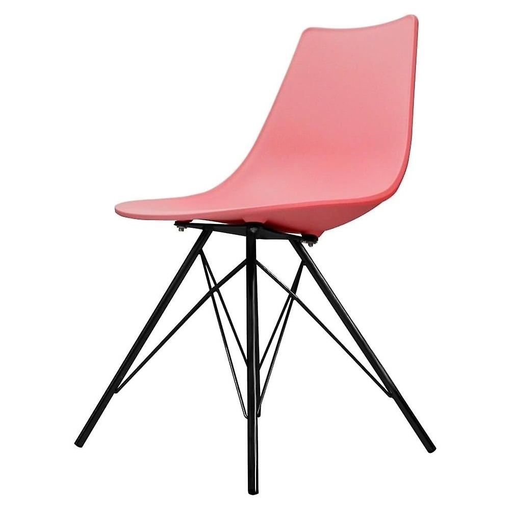 Fusion Living Iconic rose Plastic Dining Chair With noir Metal Legs