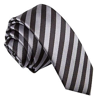 Men's Thin Stripe Black & Grey Skinny Tie