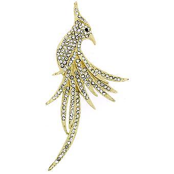 Broscher lagra guld & Clear Crystal exotiska Peacock fågel brosch