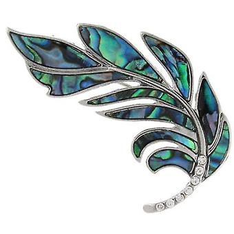 Brooches Store Abalone Paua Green Shell and Clear Crystal Feather Brooch
