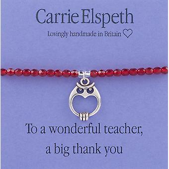 Carrie Elspeth To a Wonderful Teacher Thank You Sentiment Stretch Bracelet