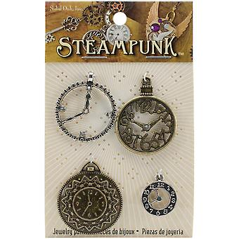 Steampunk Metal Accents 4/Pkg-Clocks 1 STEAM015