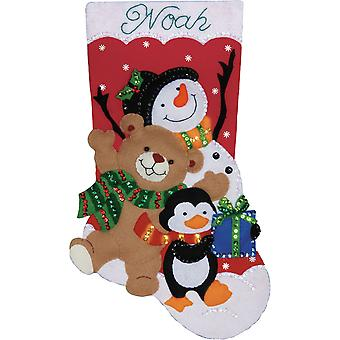 Holiday Friends Stocking Felt Applique Kit-18