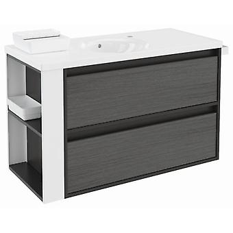 Bath+ Porcelain Sink cabinet 2 Drawers Front Anthracite-White Slate-100