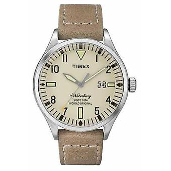 Timex Mens Waterbury Beige Leather Strap Cream Dial TW2P83900 Watch