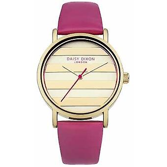 Daisy Dixon Womens Poppy Pink Leather Strap Gold Dial DD009PG Watch