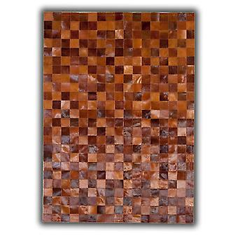 Rugs -Patchwork Leather Cubed Cowhide - Multi Brown Tones 9
