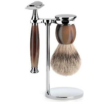 Muhle Real corne sophiste Safety Razor & Brush Set